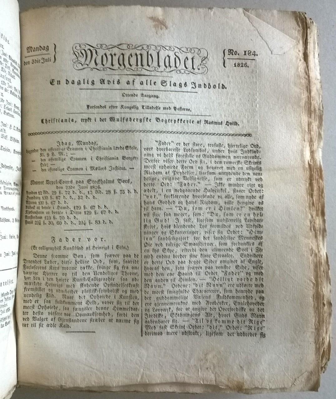 [Hviid, Rasmus (red.)] Morgenbladet, 8. årgang, 1826